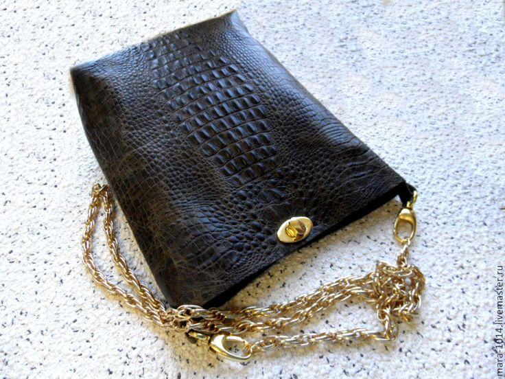 Купить КАЙМАНОВЫ ОСТРОВА кожаная сумочка на цепочке - тёмно-зелёный, нарядная сумка, кожа натуральная