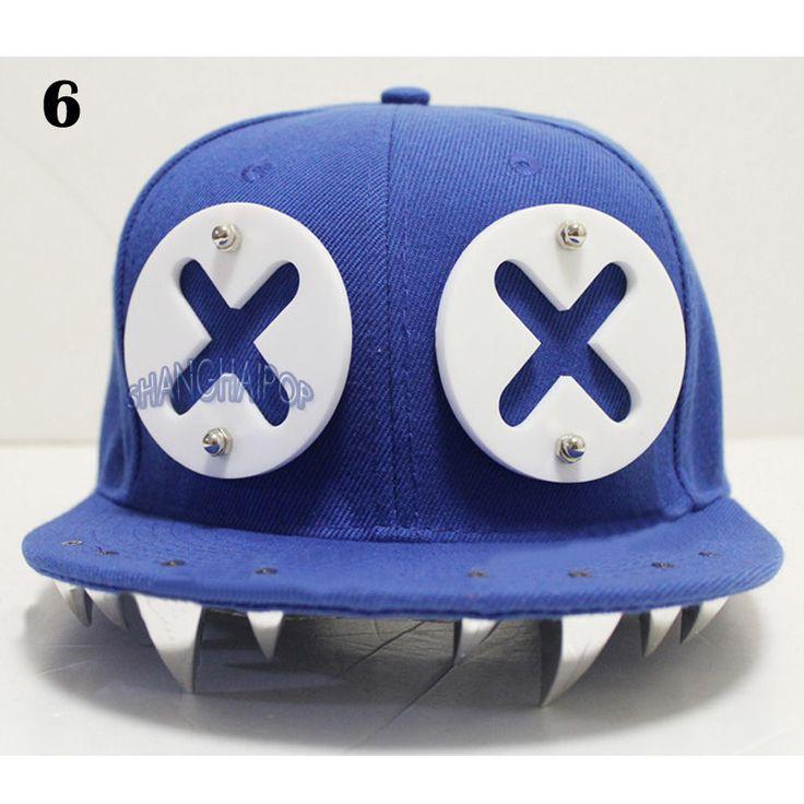 Stud Monster Tooth Cap Spike Devil Hip Hop Hat Baseball Flat Peak Snapback Dance