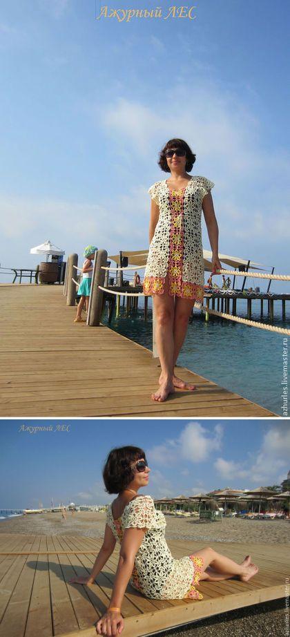 Купить Пляжная ажурная туника, платье - белый, ваниль, персик, желтый, пляжное платье