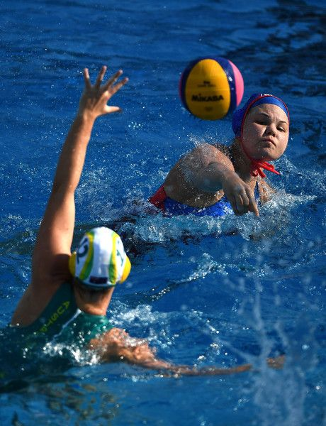 Maria Borisova (blue) of Russia shoots past Madeleine Steere (white) of Australia to score during the Women's Water Polo, Group D preliminary round match between Australia and Russia on day five of the Budapest 2017 FINA World Championships on July 18, 2017 in Budapest, Hungary.