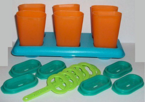 Tupperware Ice Tupps Popsicle Makers Freezer Molds New Colors by Tupperware. $27.50. Tupperware Lifetime Warranty against breaking, cracking, chipping, peeling with non-commercial use.. Tupperware Ice Tupps Popsicle Maker Set. Great for jello pops, juice pops, pudding pops, melon pops. Bright new colors, toucan Teal, orange peel, tropical water, lime-ade. Dishwasher safe. Classic Tupperware Ice Tupps have been a favorite for generations! Set includes tray, 6 popsicle holders, ...