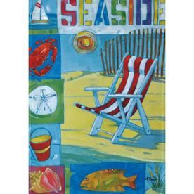 Seaside Rain Or Shine Garden Flag   12.5 In W X 18 In H