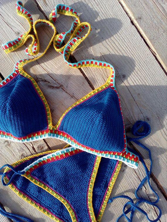 Crochet swimsuit Crochet swimwear Crochet bottom Crochet bikini set in cream String tie bikini Crochet bikini top Crochet bathing suit