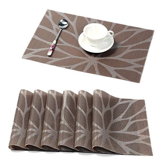 Amazon Com 6 Pcs Washable Waterproof Pvc Dining Room Placemats Classic Woven Vinyl Table Mats Heat Resistant Placemats Kitchen Placemats Dining Table Setting