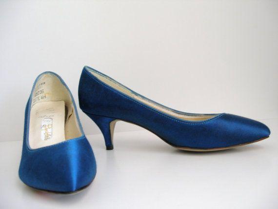 Vintage Formal High Heels Royal Blue 60s Shoes Pumps