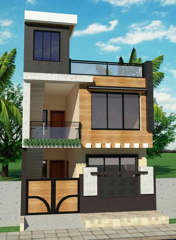 Floor Front Elevation Landscaping : Small house front elevation modern