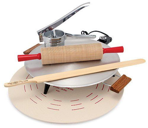 All the equipment you need to get started making your own lefse. Kit come with all the basics - grill, pastry board & cloth, lefse stick, ricer and rolling pin.
