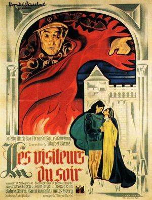 Les Visiteurs du Soir (Marcel Carné, 1942), Carné turned to fantasy in order to make allegorical references to the Occupation without the censors noticing. The devil's envoys attempt to ruin a couple's impending marriage, but it doesn't quite turn out how they intended. Find this at 791.43744 VIS.