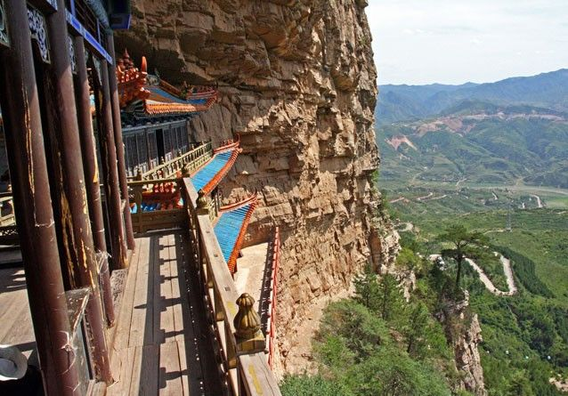 Hanging Temple - Hanging Temple Built into a cliff near Mount Heng in Shanxi Province, China, the Hanging Monastery is the only temple that embodies the three traditional religions in China: Buddhism, Confucianism and Taoism. Strategically placed to be protected from the weather, legend says this temple was built by a single monk over 1,500 years ago.