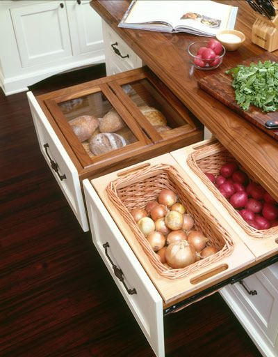 Under Counter/Drawer Bread Box & Veggie Storage