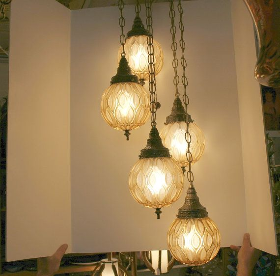 vintage 5 globe swag lamp light ceiling 3 way adjustable hanging