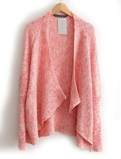 Pink Long Sleeve Loose Knit Cardigan - Sheinside.com