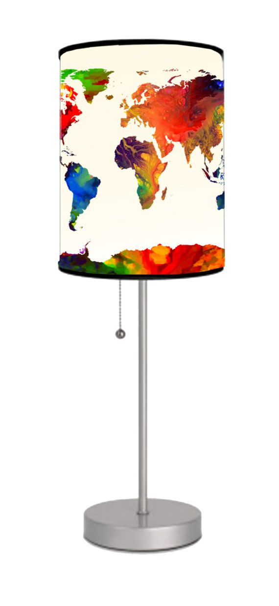Best 25 custom lamp shades ideas on pinterest victorian lamp world map custom lamp shade with bright colors custom print lamp shade photo lamp aloadofball Images