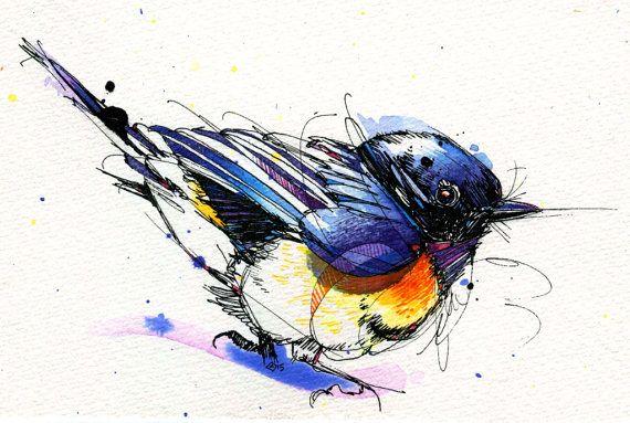 "Little American Redstart- Watercolor Bird- Print of Original Painting 5""x7"""