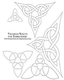 Triangle knot embroidery patterns, free.  The blogger intends them as coloring pages but they could easily be embroidered.