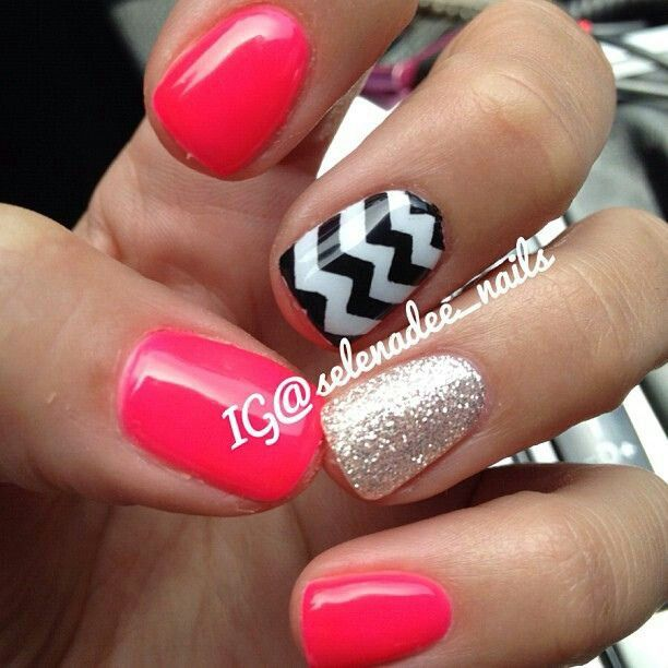 pink and beige glitter with black and white chevron nail art design