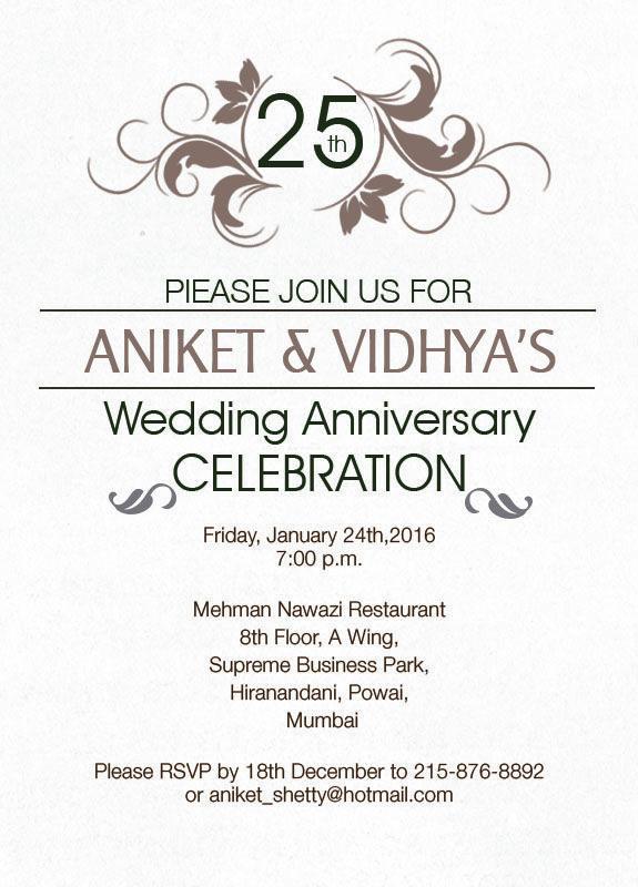 Simple 25th Wedding Anniversary Invitation From Inviteonline Silver Wordings Pinterest Invitations