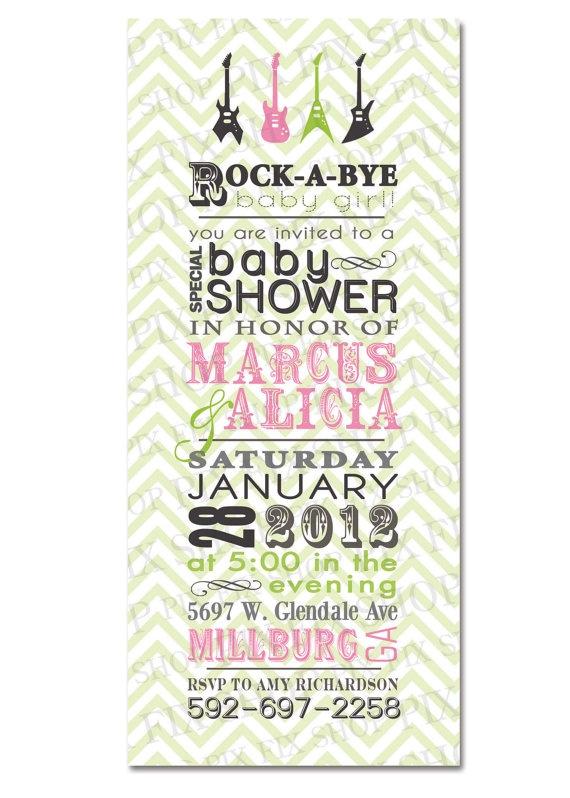 Cute Rock A Bye Baby Shower Invitation