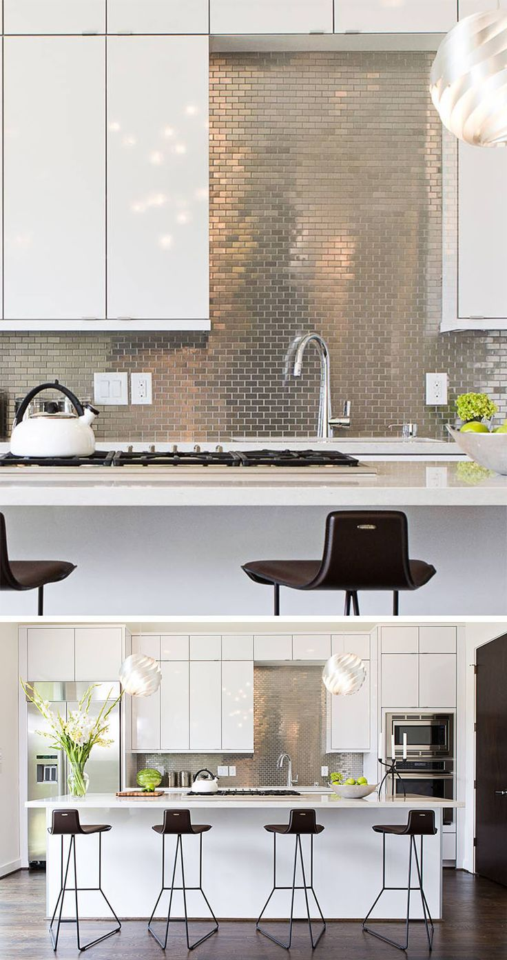 Kitchen Design Idea - Install A Stainless Steel Backsplash For A Sleek Look