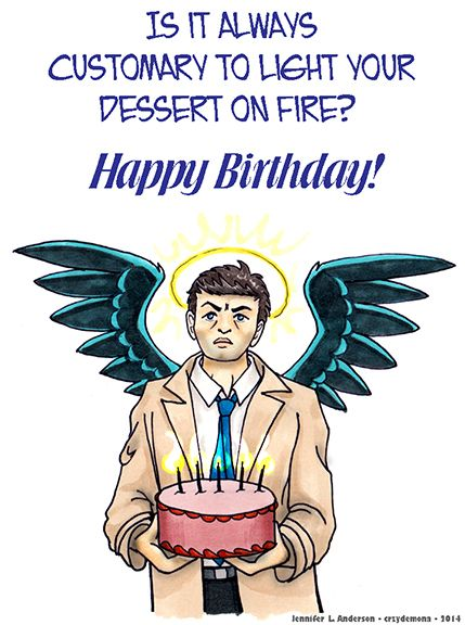 Happy birthday, Cas! 6 years since he first appeared on SPN, and I'll never see a trench coat the same way again. Castiel - Birthday Card by crzydemona
