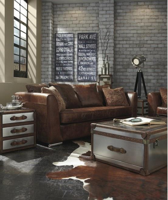 Modern Industrial lounge - a little bit masculine, but I like it