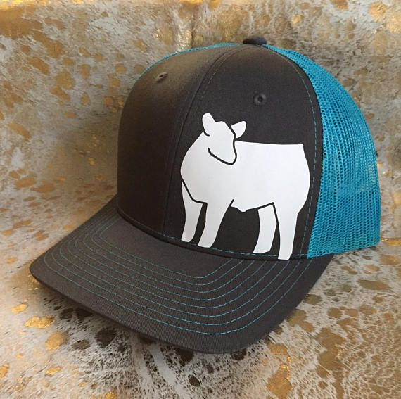 Neon mesh snapback hat featuring a show steer graphic. Hats are made to order and can be customized. Hats are available in Neon Blue, Pink, Orange, and Yellow. This hat is a structured, trucker style hat. All orders are shipped USPS First Class unless specified otherwise.