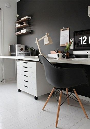 Alex drawer unit by Ikea, Eames dowel leg chair by Design Within Reach, Krille legs with Linnmon table top by Ikea
