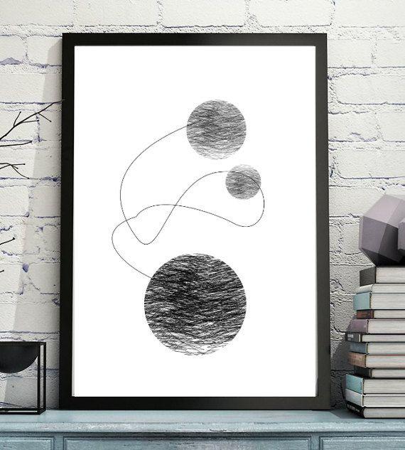 Ink Circles Four  Abstract Black and White Art Prints  #wallart #etsyart  #printableart  #design  #circles