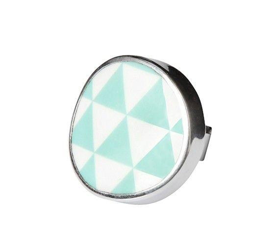 Harlequin turquoise ring - Geometric - TEMA #sägen #ring #porcelain #jewellery #jewelry #geometric #nordicdesign #nordicdesigncollective #nordic #scandinavian #designers