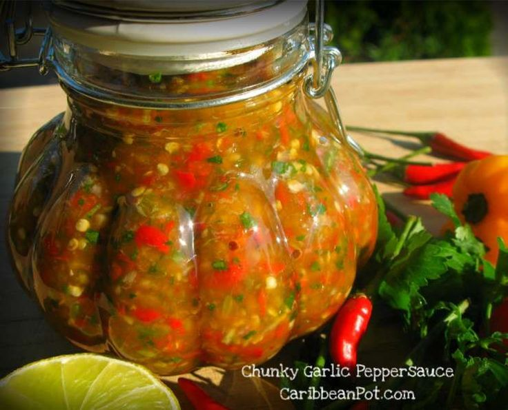 Chunky Garlic Pepper Sauce.  WAY TOO HOT for myself, but I know some of you die hard heat junkies might love this HELL fire blend.