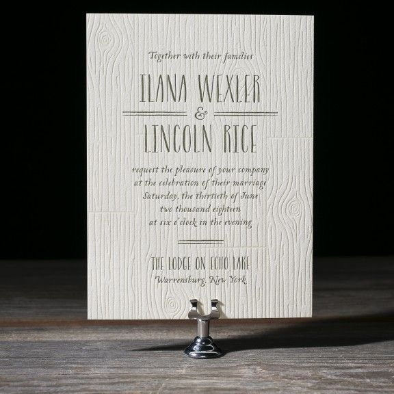 Heartwood letterpress wedding invitation by Andrea Streeter for Bella Figura. Customize yours with Paper Passionista.