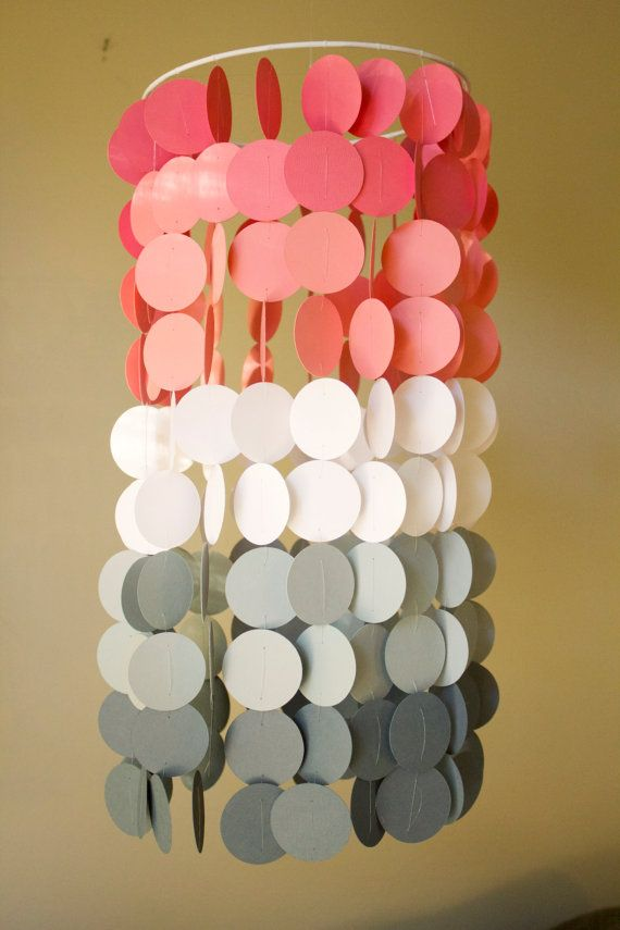 Coral and Gray Ombre Paper Crib Mobile by FourGlitteredGeese