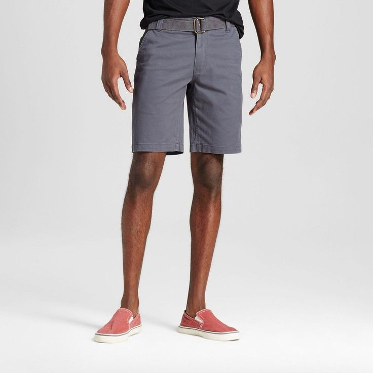 Men's Belted Flat Front Chino Shorts with Stretch Gray 30 - Mossimo Supply Co.