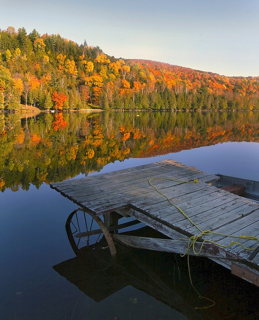 Vermont Fall Eden Lake Dock by jlangdale, via Flickr