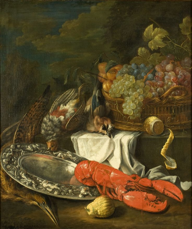 Bernaert de Bridt, Stilleven met kreeft, Een gevlochten rieten mand is gevuld met rode, blauwe en groene druiven en perziken. De mand staat op een trede en eronder ligt een wit laken. Voor de mand ligt een gepelde citroen, de schil hangt over de trede. Op de trede liggen twee dode vogels, rechts een Vlaamse Gaai en links een patrijs. Op het voorplan ligt een grote kreeft (hommer) half op een zilveren schaal die gedreven is met putti. Half onder de schaal ligt een andere dode vogel, een…