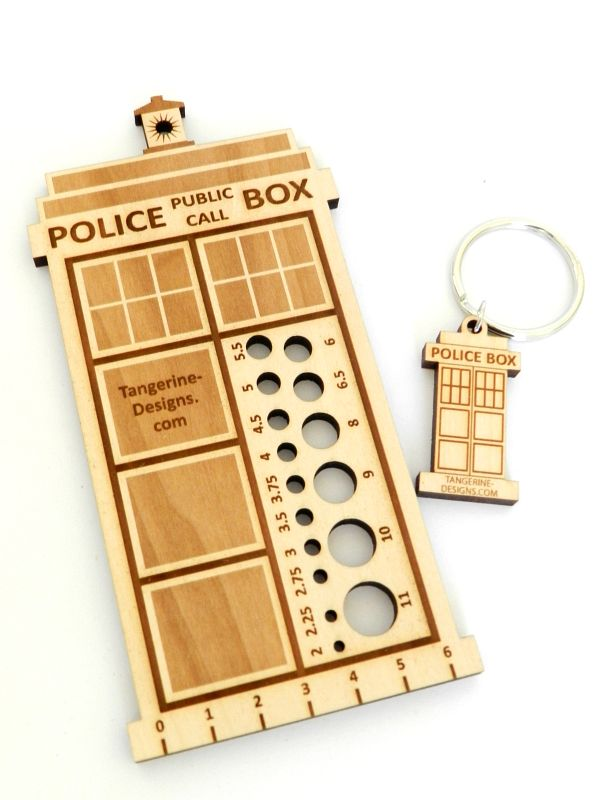 Spun Out - Knitting Needle Gauge - Police Box Knitting Needle Gauge. $13 from http://spunout.com.au