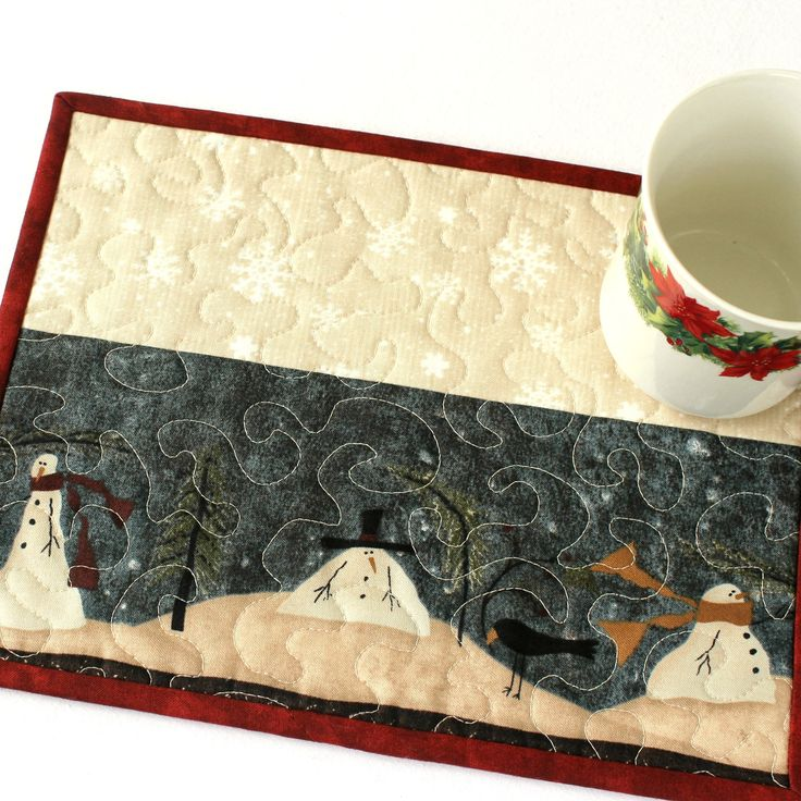 Quilted Snowman Mug Rug Christmas Snack Mat Etsy in 2020