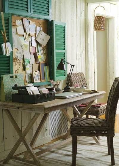 Here's a cool idea for giving new life to old shutters! Paint them and create a frame on 3 sides around a cork board over your office desk. It gives you a stylish place to pin reminders, inspiration, notes, etc. while adding major style points to the space! #homeoffice