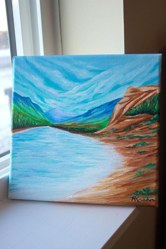 CASTLEGAR SHORE 8X8 Stretched Canvas on a Wooden Frame