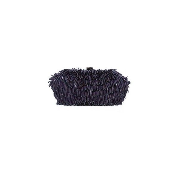 Santi Bead Fringe Clutch (1,290 CNY) ❤ liked on Polyvore featuring bags, handbags, clutches, navy, kiss lock purse, blue fringe purse, fringe clutches, kiss lock handbags and kiss-lock handbags