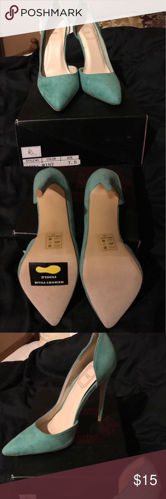 Mint 4 inch heels 7.5 Mint colored heals with box. Never worn, only tried on. 4 inch heel size 7.5. True to size. Perfect for adding a pop of color to your summer wardrobe. Memory foam insole for comfort! Desire Shoes Heels