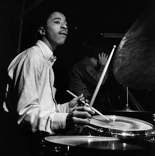 Tony Williams plays the drums during the recording session of Herbie Hancock's My Point of View album.