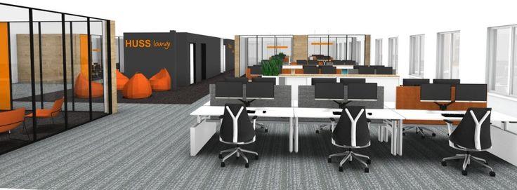 HUSS gaat verhuizen! Stoer, hout, eiken balken, groen en oranje met Herman Miller bureaustoelen