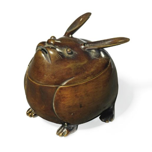 A Bronze Incense Burner [Koro]  Edo Period (19th century)  Modelled as a hare with long ears, fitted wood box: