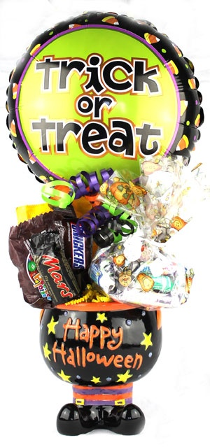 Happy Halloween     This one is just way too adorable and cute for Halloween but it's perfect and will make the perfect Halloween gift for all those scary witches out there!  Packed full with lots of Halloween candy and goodies!  Perfect for party favors, giveaways or sitting on an office desk!  Send this adorable Halloween gift basket today and you'll be the good wicked witch with all the treats this frightful Halloween…