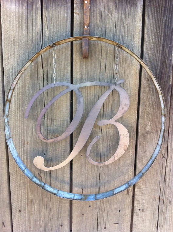 Monogram in wine barrel ring on Etsy, $40.00