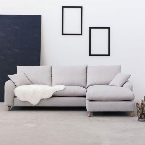 Canapé d'angle droit ou gauche en tissu Nordic Living Beige