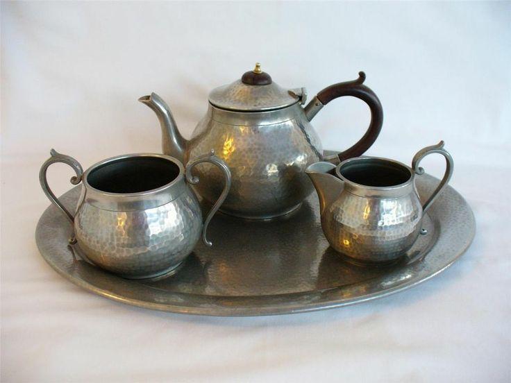 1930s Hand Beaten Pewter Tea Set & Tray - Craftsman / Viners Pewter - Sheffield