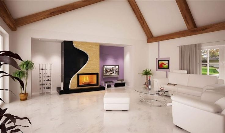 Living Room White Wall White Leather Sofa Grey Television Home Theater Purple Stand Tv Ouval Glass Coffee Table Crystal Glass White Wooden Window Painting Cream Curtain Fireplace The Best Living Room Designs for You