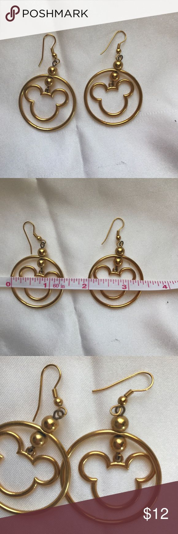 """Gold tone Mickey mouse earrings Round hoop with Mickey silhouette. Over 1"""" diameter. Pre-loved. Small amount of wear/tarnish, see photos. Jewelry Earrings"""